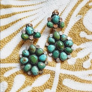 Turquoise Squash Blossom Clip Earrings